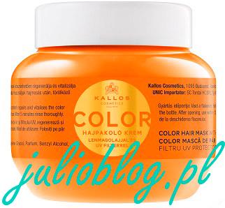 Maska do włosów Kallos Color z olejkiem z ziarna lnu i chroniącym kolor filtrem UV do farbowanych, łamiących się włosów. Dzięki zawartości odżywczych składników działających oleju z ziarna lnu i chroniącego kolor filtra UV chroni włókna włosów przed szkodliwym wpływem środowiska. Po zastosowaniu włosy na długo zachowają lśniący kolor, staną się jedwabiste, miękkie w dotyku i łatwe do układania.