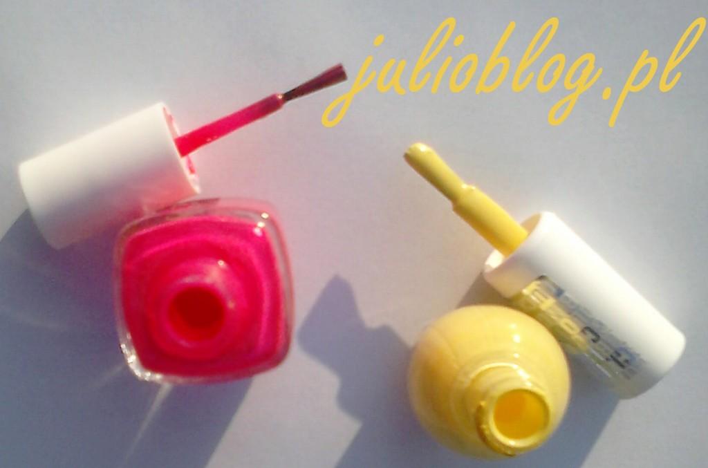 Lakiery do paznokci: Essie bottle service w wersji profesjonalnej z cienkim pędzelkiem, oraz Miss Sporty Clubbing nr 453