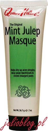Miętowa maseczka oczyszczająca Mint Julep Masque Queen Helene z glinką zieloną. Maseczka na bazie glinki pomagająca pozbyć się wszelkich wyprysków oraz zapobiegająca pojawianiu się nowych. Skutecznie oczyszcza i zamyka zbyt rozszerzone pory, a także usuwa zaskórniki. Przeznaczona również do pielęgnacji skóry pozbawionej powyższych problemów. Rozluźniając napięcie mięśniowe twarzy i szyi sprawia, że zmarszczki są mnie widoczne. Oczyszcza i wygładza skórę pozostawiając na długo uczucie świeżości i komfortu. Nie testowana na zwierzętach. Nie zawiera składników pochodzenia zwierzęcego.