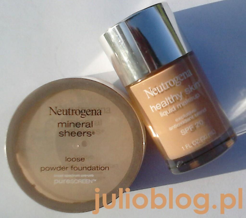 Mineralny puder sypki Nutrogena Mineral Sheers Loose Powder Foundation SPF20 w odcieniu Soft Beige 50, oraz Płynny Podkład do twarzy Neutrogena Healthy Skin SPF 20 w odcieniu Soft Beige 50