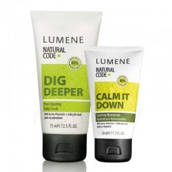 Zestaw kosmetyków Lumene Natural Code: Lumene Natural Code, Skin Purifier, Dig Deeper, złuszczający peeling do twarzy mechaniczno - enzymatyczny do codziennego stosowania (oczywiście nie mam zamiaru używać go codziennie!), oraz Lumene Natural Code Calm It Down, wyciszający krem nawilżający