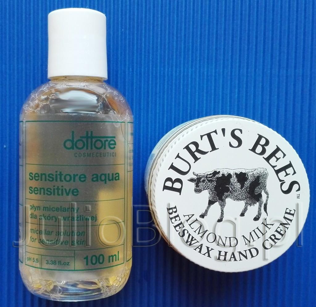 Płyn-micelarny-dla-skóry-wrażliwej-Sensitore-Aqua-Sensitive-Dottore-skóra-wrażliwa-kosmeceutyk-Migdałowy-krem-do-rąk-Almond-Milk-Hand-Cream-Burt's-Bees-bardzo-sucha-skóra-zima