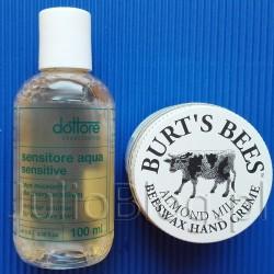 Płyn micelarny do skóry wrażliwej, normalnej i mieszanej Sensitore Aqua Sensitive Dottore oraz Naturalny krem do rąk Almond & Milk Hand Cream Burt's Bees z woskiem pszczelim (57g/ok. 50zł). 2 migdałowe kosmetyki na zimę: demakijaż & pielęgnacja dłoni Julia 4 grudnia 2017Juliowym okiem., Pielęgnacja ciała, Pielęgnacja dłoni i paznokci, Recenzje kosmetyczne, URODA. Płyn micelarny dla skóry wrażliwej Sensitore Aqua Sensitive Dottore. Płyn micelarny Sensitore Aqua Sensitive Dottore. 100% składników pochodzenia naturalnego. Oczyszcza skórę twarzy z makijażu i zanieczyszczeń atmosferycznych. Idealny do demakijażu oczu. Skutecznie usuwa nawet wodoodporny makijaż. Skóra wrażliwa, normalna i mieszana. Płyn micelarny Sensitore Aqua Sensitive Dottore – skład (INCI): aqua, glycerin, cucumis sativus fruit extract, olive oil peg-7 esters, d-panthenol, benzyl alcohol, dehydroacetic acid, tetrasodium glutamate diacetate. Płyn micelarny Sensitore Aqua Sensitive Dottore. 100% składników pochodzenia naturalnego. Oczyszcza skórę twarzy z makijażu i zanieczyszczeń atmosferycznych. Idealny do demakijażu oczu. Skutecznie usuwa nawet wodoodporny makijaż. Skóra wrażliwa, normalna i mieszana. Płyn micelarny Sensitore Aqua Sensitive Dottore – skład (INCI): aqua, glycerin, cucumis sativus fruit extract, olive oil peg-7 esters, d-panthenol, benzyl alcohol, dehydroacetic acid, tetrasodium glutamate diacetate. Płyn micelarny do skóry wrażliwej, normalnej i mieszanej Sensitore Aqua Sensitive Dottore oraz Naturalny krem do rąk Almond & Milk Hand Cream Burt's Bees z woskiem pszczelim (57g/ok. 50zł). Płyn micelarny Sensitore Aqua Sensitive Dottore zawiera oliwę z oliwek, ekstrakt z ogórka, oraz panthenol. Ma ph 5,5 :) Muszę przyznać że dość dobrze usuwa niemal każdy makijaż oczu i całej twarzy, oraz kompletnie nie podrażnia mojej wrażliwej skóry. Standardowe opakowanie 200ml kosztuje 59zł. Płyn micelarny Sensitore Aqua Sensitive Dottore zawiera oliwę z oliwek, ekstrakt z ogórka, oraz panthenol. Ma ph