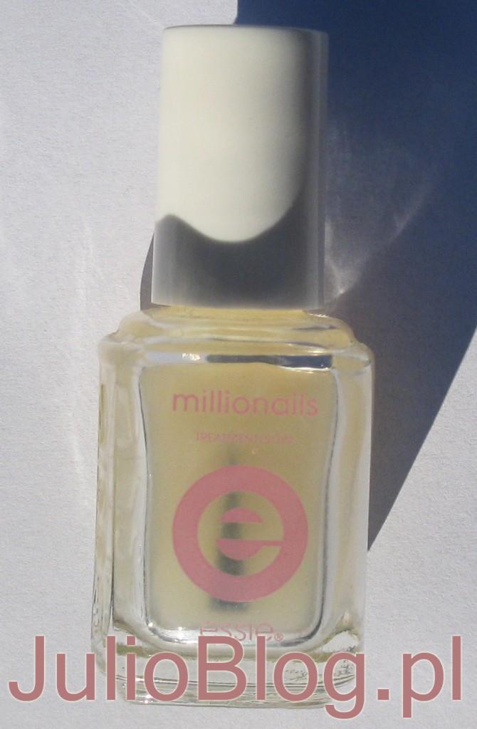 Odżywka wzmacniająca paznokcie Essie Millionails to baza i odżywka w jednym, powstała po to, by wzmacniać kruche i podatne na uszkodzenia paznokcie. Jego odżywczo-wzmacniająca formuła składa się z mieszanki jedwabiu i żelaza - idealnego połączenia dla uzyskania twardych i mocnych paznokci. Pierwsze efekty widoczne już po kilku dniach. Dodatkowa ochrona płytki dzięki nylonowym włóknom. Zapobiega łamaniu i rozdwajaniu paznokci.  Essie Millionails to skuteczna wzmacniająca baza do paznokci zawiera miliony wzmacniających molekuł, żelazo i nylon dodatkowo chronią płytkę przed zniszczenim, tworzy płaszcz ochronny na płytce paznokcia, chroni przed łamaniem i rozdwajaniem, nawilża i odżywia