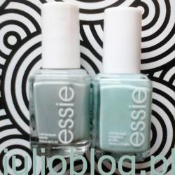 Lakiery do paznokci Essie. Od lewej Essie maximillian strasse-her, odcień Essie 1010 - chłodna zielenioszarości, oraz Essie Mint Candy Apple, odcień Essie 99 - miętowy krem