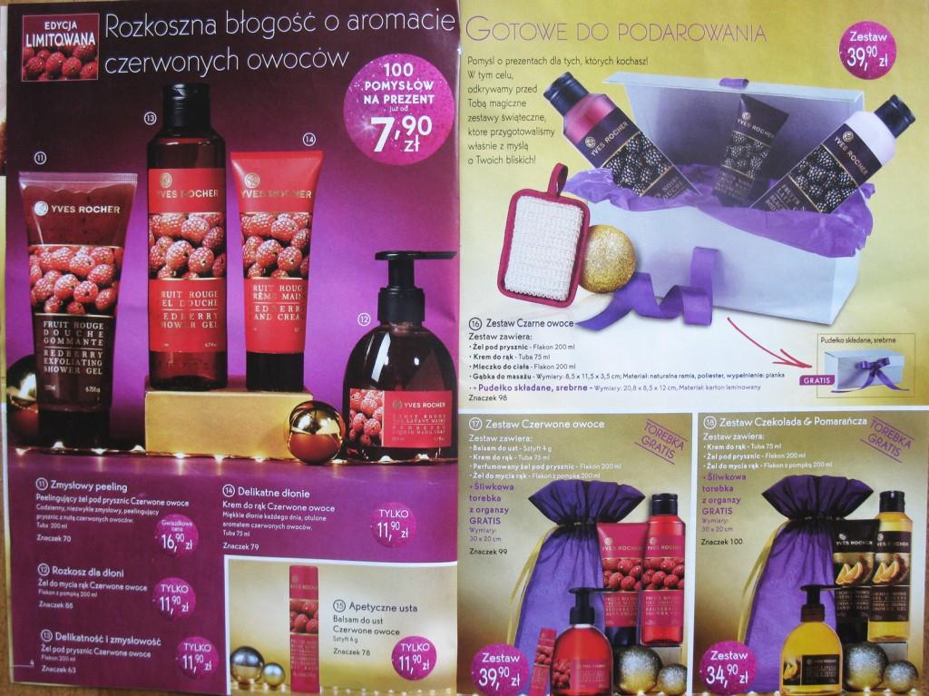 Świąteczna limitowana edycja kosmetyków Yves Rocher, katalog z oferty wysyłkowej na Święta 2014 z propozycjami prezentów. Produkty z linii Gruszka w karmelu PLAISIRS NATURE Yves Rocher, kosmetyki z serii limitowanej  czerwone owoce Yves Rocher, kosetyki z serii limitowanej czarne owoce, Yves Rocher, oraz z serii limitowanej Pomarańcza & Czekolada Yves Rocher