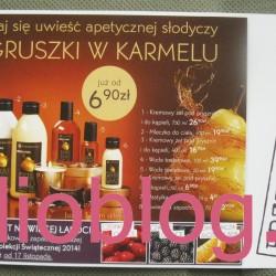 Ulotka promocyjna do sklepów stacjonarnych Yves Rocher na listopad 2014. Przedsmak ŚWIĄT… Kosmetyki z limitowanej edycji: GRUSZKA W KARMELU, czerwone owoce, czarne owoce, oraz Pomarańcza & Czekolada