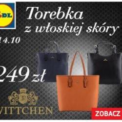 """W dniach 4-5 października wybrane modele, skórzanych torebek WITTCHEN będą dostępne w sieci 500 placówek Lidl Polska. Do sprzedaży trafi kilka fasonów torebek w promocyjnych cenach. WITTCHEN zdecydował się dołączyć do akcji """"see you In LONDON"""", która prowadzona jest przez firmę Lidl. """"Zależy nam, aby nasze produkty były przystępne dla szerszego grona odbiorców. Naszym wyznacznikiem są najwyższej jakości skóry oraz produkcja typu hand made. Jesteśmy elastyczni i otwarci, dlatego decydujemy się na nowe możliwości współpracy z firmą Lidl, która jest pierwszą i jedyną siecią sklepów współpracującą z firmą WITTCHEN"""" – mówi Monika Wittchen, wiceprezes firmy WITTCHEN. """"Wierzymy, że nasza współpraca z siecią Lidl będzie sukcesywnie się rozwijać i przynosić kolejne, owocne efekty dla obu stron"""" – podsumowuje Jędrzej Wittchen, prezes firmy WITTCHEN."""