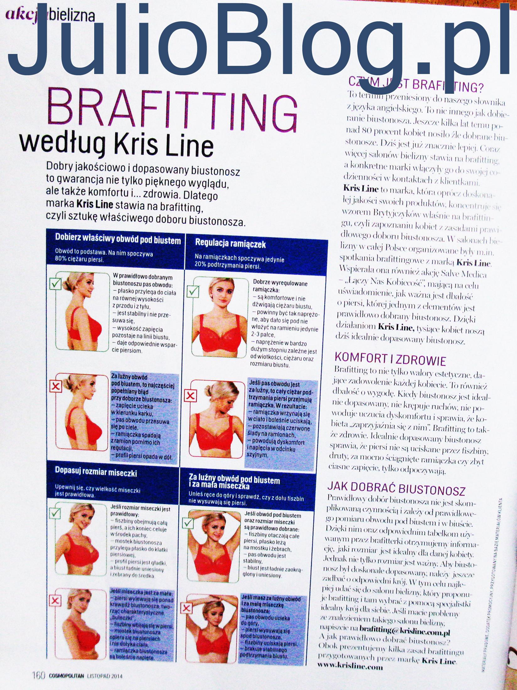 Brafitting wg Kris Line - artykuł w Cosopolitan na julioblog.pl
