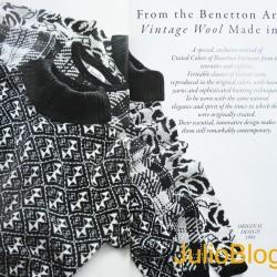 Specjalna i ekskluzywna reedycja dzianin wykreowanych przez United Colors of Benetton w latach '70 i '80. Prawdziwa klasyka włoskiego gustu wykonana w oryginalnych kolorach, z cennej przędzy i z zastosowaniem wyrafinowanych technik tkania. Wykonane dla noszenia z tą samą naturalną elegancją i w duchu lat, w których powstały. Istotny i innowacyjny design nadaje tym ubiorom nadzwyczajnie współczesny charakter.