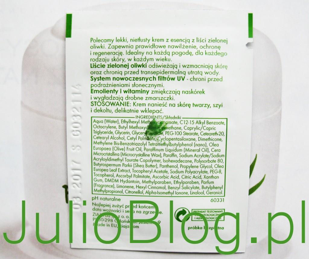 Ziaja Liście zielonej oliwki Skoncentrowany krem oliwkowy SPF 20. Polecamy lekki, nietłusty krem z esencją z liści zielonej oliwki. Zapewnia prawidłowe nawilżenie, ochronę i regenerację. Idealny na każdą pogodę, dla każdego rodzaju skóry, w każdym wieku. Liście zielonej oliwki - odświeżają i wzmacniają skórę oraz chronią przed transepidermalną utratą wody. System nowoczesnych filtrów UV - chroni przed podrażnieniami słonecznymi. Emolienty i witaminy - zmiękczają naskóre i wygładzają drobne zmarszczki.