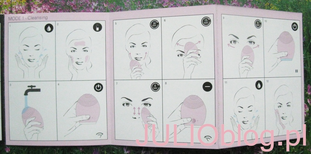 Rewolucyjny system oczyszczania twarzy z funkcją anti-aging opóźniający proces starzenia. Oczyszcza, wygładza, odmładza nadając skórze piękny i witalny wygląd. LUNA™ FOREO dla wrażliwej i normalnej skóry. – 719zł, Douglas.pl. LUNA™ dla wrażliwej i normalnej skóry. Rewolucyjny system oczyszczania twarzy z funkcją anti-aging opóźniający proces starzenia • Usuwa z porów dogłębnie pozostałości brudu, tłuszczu i makijażu • Usuwa martwy naskórek • Za pomocą pulsacji T-Sonic™ skóra jest jędrniejsza i promienna • Łagodne i higieniczne silikonowe wypustki są dopasowane do potrzeb skóry mieszanej • Redukcja zmarszczek i linii mimicznych w trybie niskiej prędkości. Dodatkowo poprawia wchłanianie twoich ulubionych kremów • W trybie wysokiej prędkości szczoteczka oczyszcza dogłębnie i o wiele skuteczniej niż tradycyjne mycie dłońmi • LUNA™ ma 8-prędkości • Nie wymaga wymiany szczoteczki • W 100% wodoodporna Stosowanie: Wystarczą 2 minuty codziennie rano i wieczorem dla zdrowej i pięknej skóry. OCZYSZCZANIE Przednią powierzchnią szczoteczki oczyszczamy twarz przez 60 sekund następująco: • Usuń makijaż. • Nałóż produkt oczyszczający na szczoteczkę lub na wilgotną cerę. • Naciśnij na środkowy guzik, aby uruchomić urządzenie. • ZIntegrowany timer przeprowadzi Cię pzez proces oczyszczania • Dla optymalnego zabiegu można +/- prędkość regulować. • Umyj urządzenie wodą z mydłem. ANTI-AGING Po oczyszczaniu stosujemy falistą powierzchnię również przez 60 sekund do wcierania wszelkich kremów. Zintegrowany timer pomoże Ci w tym. Proces ten przyczynia się do ich lepszego wchłaniania i działania. Dzięki falom sonicznym T-Sonic pulsującym w tempie 8000 razy na minutę kazda z naszych szczoteczek: -umożliwia dokladne czyszczenie twarzy -pory znikaja -pozostawia skórę gładszą i napiętą -usuwa problem przetłuszczania się cery i suchych skórek -oraz przyczynia się do lepszego wchłaniania wszelkich produktów do pielęgnacji cery.