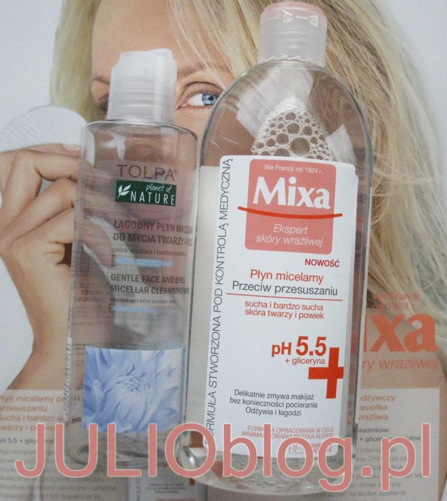 julioblog.pl-zakupy-julii-płyn-micelarny-Mixa-przeciw-przesuszeniom-oraz-puste-opakowanie-po-zużytym-produkcie-denko-Łagodny-płyn-micelarny-do-mycia-twarzy-o-oczu-Planet-of-NATURE-Tołpa-dla-skóry-wrażliwej-i-bardzo-wrażliwej