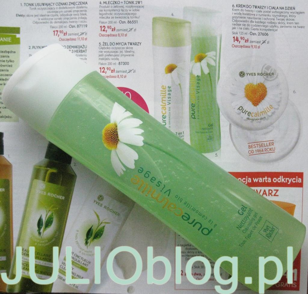 Żel do mycia twarzy do każdego rodzaju cery Pure Calmille Yves Rocher. Kosmetyk do oczyszczania twarzy, idealny dla osób, które lubią myć twarz wodą - przejrzysty, zielony żel o kwiatowym zapachu po kontakcie z wodą zmienia się w piankę. Produkt skutecznie oczyszcza twarz, a dzięki zawartości ekstraktu z rumianku bio dodatkowo łagodzi skórę. Żel nie zawiera mydła, dzięki czemu oczyszcza twarz bez wysuszania skóry. Produkt testowany pod kontrolą dermatologiczną dla zminimalizowania ryzyka alergii. Działanie · głęboko i skutecznie oczyszcza skórę Składniki · czysty ekstrakt z rumianku bio - produkowany z roślin z uprawy biologicznej naturalną metodą, bez użycia składników chemicznych · olejek eteryczny z palmarozy Sposób użycia Stosuj Żel do mycia twarzy rano i wieczorem na zwilżoną skórę. Myjąc twarz, unikaj kontaktu kosmetyku z oczami. Na zakończenie spłucz obficie letnią wodą. Rodzaj opakowania i wielkość 200 ml