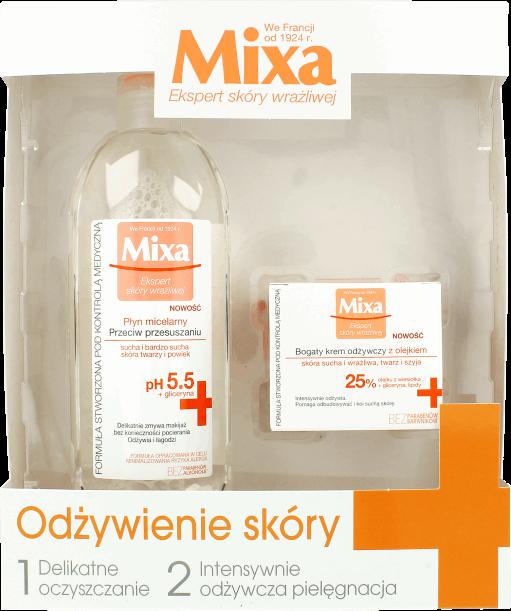 """zestaw z Rossmana: Płyn micelarny Mixa przeciw przesuszeniom + Bogaty krem odżywczy Mixa z olejkiem z wiesiołka do skóry suchej i wrażliwej do twarzy i szyi – kosztował 33,99zł Płyn micelarny Mixa przeciw przesuszeniom Zrób test! Czy Twoja skóra wysusza się w wyniku działania czynników zewnętrznych (zanieczyszczenia, zimno, twarda woda)? Czy czujesz, że Twoja skóra jest ściągnięta? Czy Twoja skóra jest podrażniona po spłukiwaniu wodą? Jeśli odpowiedziałaś """"tak"""" na co najmniej 2 pytania, to produkt jest dla Ciebie. Nasz Płyn micelarny do demakijażu przeciw przesuszaniu Mixa to idealny płyn do demakijażu skóry wrażliwej. Formuła z micelami usuwa ze skóry makijaż i zanieczyszczenia. Ogranicza do minimum konieczność pocierania. Fizjologiczne pH 5.5, identyczne z pH skóry, nie narusza jej bariery ochronnej. Płyn, zawierający nawilżającą glicerynę, chroni przed wysuszaniem, koi. + Skuteczność: Micelarna formuła wiążąca mikroskopijne cząsteczki zanieczyszczeń. Nawilżająca gliceryna. - Ryzyko alergii: Skład dobrany tak, aby minimalizować ryzyko wystąpienia reakcji alergicznych. Tolerancja przetestowana na wrażliwej skórze twarzy i powiek. Bez parabenów, bez alkoholu*. * dotyczy alkoholu etylowego. Odczuwalne rezultaty! Twarz i powieki są skutecznie oczyszczone z makijażu. Wrażliwa skóra jest ukojona i nawilżona. Skład: Aqua/Water, Hexylene Glycol, Glycerin, Citric Acid, Disodium Cocoamphodiacetate, Disodium EDTA, Panthenol, PEG-60 Hydrogenated Castor Oil, Poloxamer 184, Polyaminopropyl Biguanide, Parfum/ Fragrance. (F.I.L. B164978/1). Bogaty krem odżywczy Mixa z olejkiem z wiesiołka do skóry suchej i wrażliwej do twarzy i szyi Skład: Aqua/Water, Glycerin, Cetearyl Acoholo, Caprylic/Capric Triglyceride, Glyceryl Stearate, Alcohol Denat., Ethylhexyl Palmitate, Dimethicone, Butyrospermum Parkii Butter/Shea Butter, Myristyl Myristate, NIacynamide, Caprylyl Glycol, Citric Acid, Disodium EDTA, Myristyl Malate Phosphonic Acid, Oenothera Bennis Oil/Evening Primrose Oil, PEG-100 Ste"""