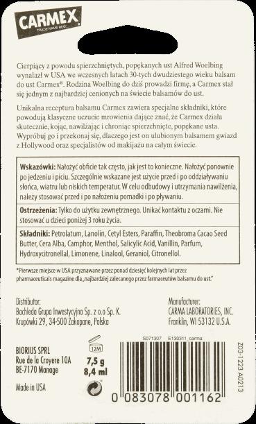 Carmex balsam do ust w słoiczk rossman skład opis producenta