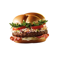 KANAPKA BIG COLESLAW BURGER Chrupiący bekon połączony ze smakowitą kapustą z sosem wild mustard. Do tego soczysta wołowina, aromatyczny ser ceasar oraz świeża rukola i plaster pomidora.