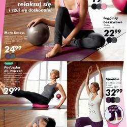 JOGA. Ćwicz, relaksuj sięi czuj się doskonale. Oferta LIDL 22 stycznia 2015. Top bezszwowy, Mata fitness, Poduszka do ćwiczeń, Spodnie do jogi.
