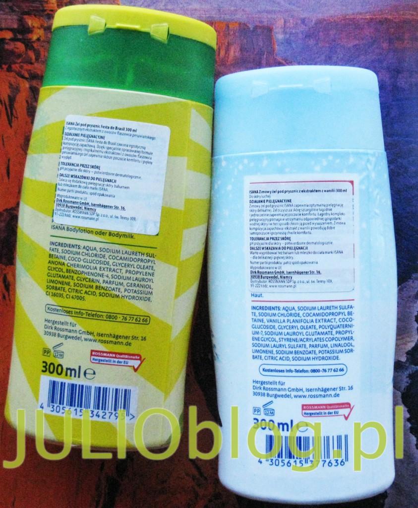julioblog.pl-żele-pod-prysznic-isana-z-rossmana-zimowy-żel-pod-prysznic-z-ekstraktem-z-wanilii-Fest-do-Brasil-rossman-opakowania-300ml-pingwin-tukan-opinia-recenzja-etykietka-skład