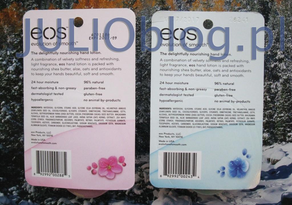 julioblog.pl-zakupy-julii-balsamy-kremy-do-rąk-eos-hand-lotion-berry-blossom-fresh-flowersj-kagodowy-i-kwiatowy-opakowanie-składniki