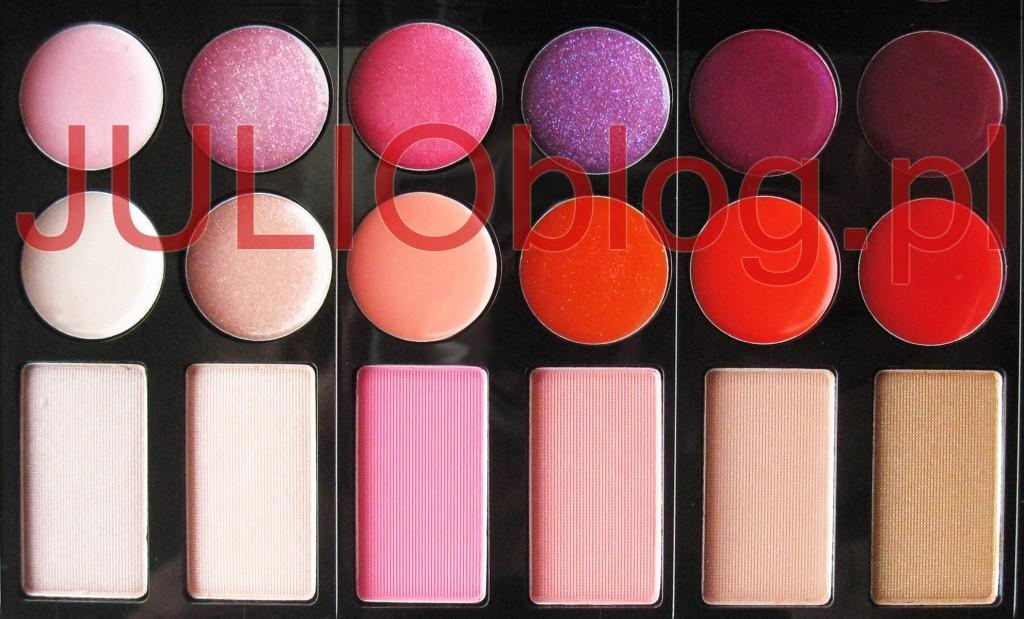 julioblog.pl-zakupy-julii-paleta-do-makijażu-sephora-make-up-party-box-12-błyszczyków-do-ust-6-różów-do-policzków-zbliżenie-na-kolory-swatch-blog-limitowana-edycja