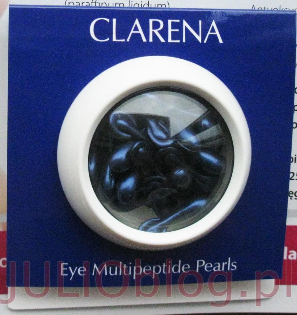 """Clarena EYE MULTIPEPTIDE PEARLS. Clarena EYE MULTIPEPTIDE PEARLS. Luksusowe perły młodości firmy Clarena o konsystencji lekkiego, jedwabistego żelu z kompleksem wielokierunkowo działających peptydów. Clarena Eye Multipeptide Pearls posiadają właściwości napinające oraz przywracające blask zmęczonej skórze wokół oczu. Wygładzają zmarszczki i stymulują machanizmy komórkowe, które odpowiedzalne są za syntezę elastyny. Clarena Eye Multipeptide Pearls ujędrniają i odmładzają skórę oraz likwidują cienie pod oczami. Clarena Eye Multipeptide Pearls wykazują wysokie działanie antyoksydacyjne oraz zabezpieczają delikatną okolicę oczu przed szkodliwym działaniem czynników zewnętrznych dzięki zawartości witaminy E. Clarena EYE MULTIPEPTIDE PEARLS Luksusowe perły młodości pod oczy z multipeptydami. ELASTYNA – białko strukturalne o budowie fibrylarnej, które występuje w tkance łącznej. Jest głównym składnikiem m.in. ścięgien, więzadeł, tkanki płucnej oraz ścian większych naczyń krwionośnych. Ze względu na obecność elastyny, tkanki w nią obfitujące po rozciągnięciu lub ściśnięciu odzyskują swój pierwotny kształt i wielkość jak to ma miejsce w przypadku skóry. WITAMINA E – zwana także """"witaminą młodości"""" jest jednym z najważniejszych antagonistów wolnych rodników, odpowiedzialnych za przedwczesne starzenie się organizmu. Dobrze wnika w skórę i odżywia ją, poprawiając miękkość i elastyczność naskórka, działa nawilżająco. Zmniejsza wrażliwość skóry na promieniowanie UV. Ceramidy – chronią skórę przed działaniem niekorzystnych czynników zewnętrznych. Skutecznie wzmacniają jej barierę ochronną. Zmniejszają TEWL, regulując poziom nawodnienia w warstwie rogowej. Działają przeciwzmarszczkowo, przywracają prawidłowe napięcie i elastyczność skóry. Hamują procesy jej fizjologicznego starzenia. Clarena EYE MULTIPEPTIDE PEARLS Luksusowe perły młodości pod oczy z multipeptydami – opakowanie – kartonik z opisem działania i składemproduktu. Clarena EYE MULTIPEPTIDE PEARLS Luksusowe perły młodości"""