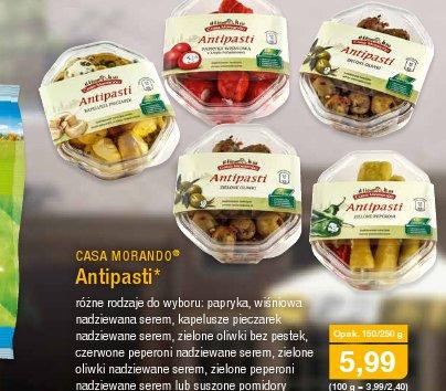 antipasti casa marando aldi 5.99zł różne rodzaje papryka wiśniowa nadziewana serem kapelusze pieczarek zielone oliwki czerwone peperoni zielone peperoni suszone pomidory