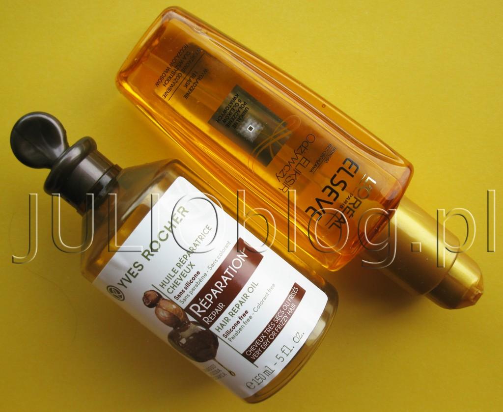 julioblog.pl-dwa-olejki-2-do-włosów-eliksir-odżyczy-elseve-loreal-paris-magiczna-moc-olejków-100ml-olejek-odbudowujący-do-włosów-yves-rocher-roślinna-pielęgnacja-150ml