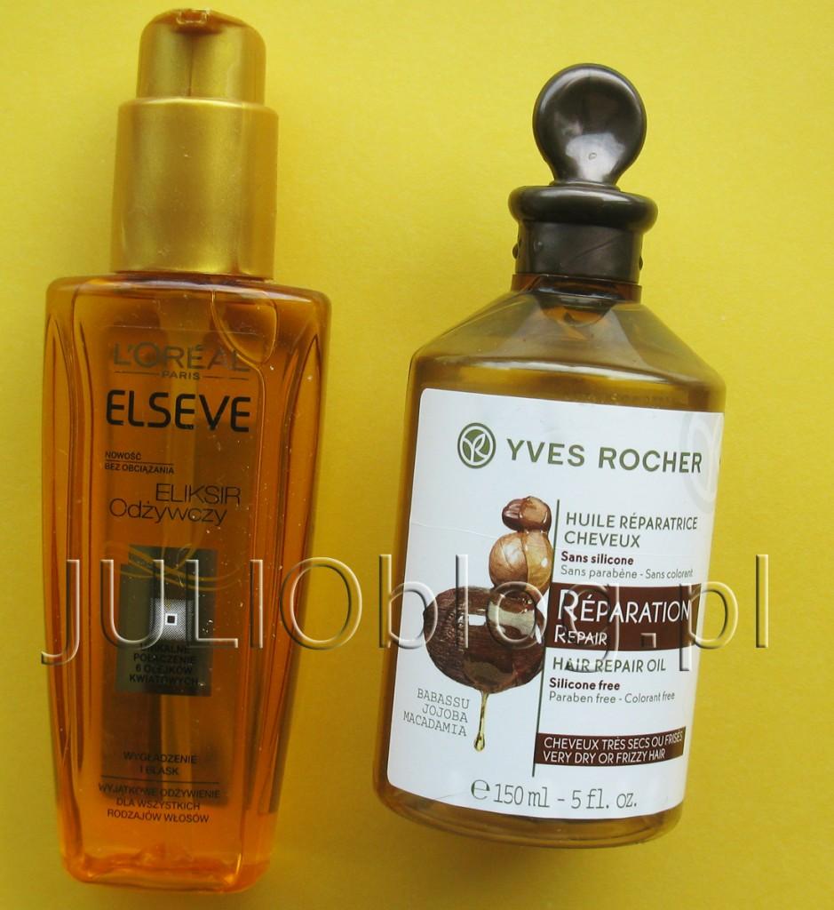 julioblog.pl-dwa-olejki-2-do-włosów-eliksir-odżyczy-elseve-loreal-paris-magiczna-moc-olejków-100ml-olejek-odbudowujący-do-włosów-yves-rocher-roślinna-pielęgnacja-150ml-olejowanie-włosów
