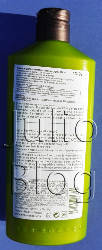 Julioblog.pl blog julii recenzje kosmetyków kosmetyczne opinie o kosmetykach Szampon-odbudowujący-Roślinna-pielęgnacja-włosów-Yves-Rocher-300ml-skład-składniki-INCI
