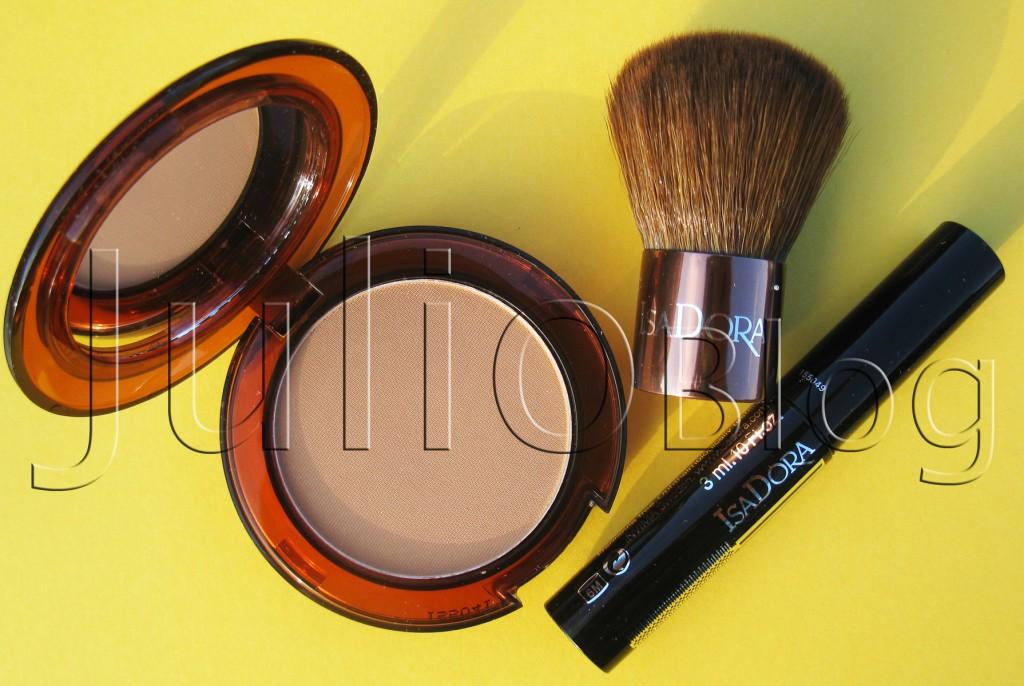 zestaw-BRONZING-Puder-brązujący-IsaDora-Bronzing-Powder-w-odcieniu-nr-45-HIGHLIGHT-TAN,-mały-pędzelek-kabuki-i-miniaturowy-tusz-do-rzęs-IsaDora-Precision-Mascara-Deep-Black