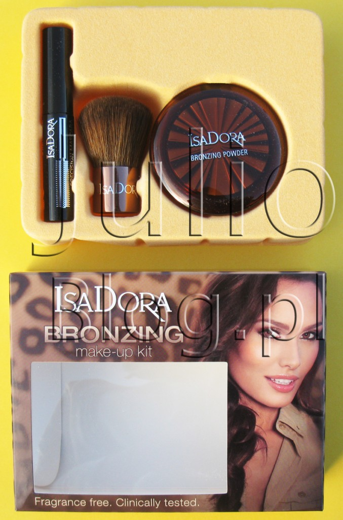 zestaw-do-makijażu-IsaDora-BRONZINg-MAKE-UP-KIT-highlight-tan-tusz-precision-mascara-pędzel-kabuki-puder-brązujący-odpakowany-w-środku-jak-wygląda
