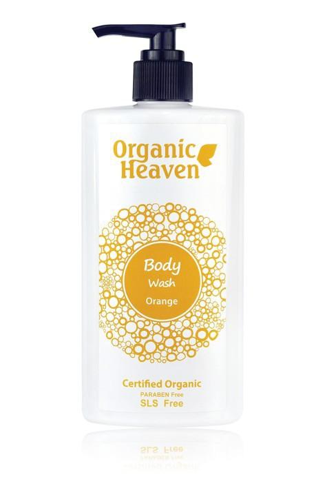 Żel do kąpieli i pod prysznic zapach olejku pomarańczowego Organic Body Wash Orange Organic Heaven Żel do kąpieli i pod prysznic zapach olejku pomarańczowego Organic Body Wash Orange Organic Heaven. Żel do kąpieli i pod prysznic. Certyfikowany przez Soil Association. W 84% składniki z kontrolowanych upraw ekologicznych. Zawiera naturalne mydło z organicznych olejów roślinnych oraz organiczną roślinną glicerynę i składniki natłuszczające pochodzące z oleju palmowego Szczególnie zalecany żel dla skóry suchej i z problemami skórnymi. Nie zawiera parabenu i sls – syntetycznych środków myjących. bez Nie zawiera sztucznych substancji zapachowych a tylko niewielką ilość organicznych olejków aby nie powodować podrażnień szczególnie wrażliwej skóry.