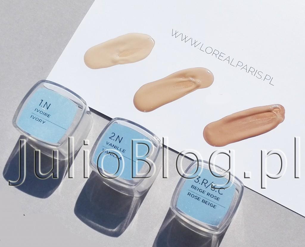 julioblog.pl-blog-julii-recenzje-kosmetyków-podkład-loreal-true-match-kolory-odcienie-swatche-1N-VANILLA-2N-IVORY-3R-3C-ROSE-BEIGE-swatch-jasna-karnacja-odcień-neutralny-zimny