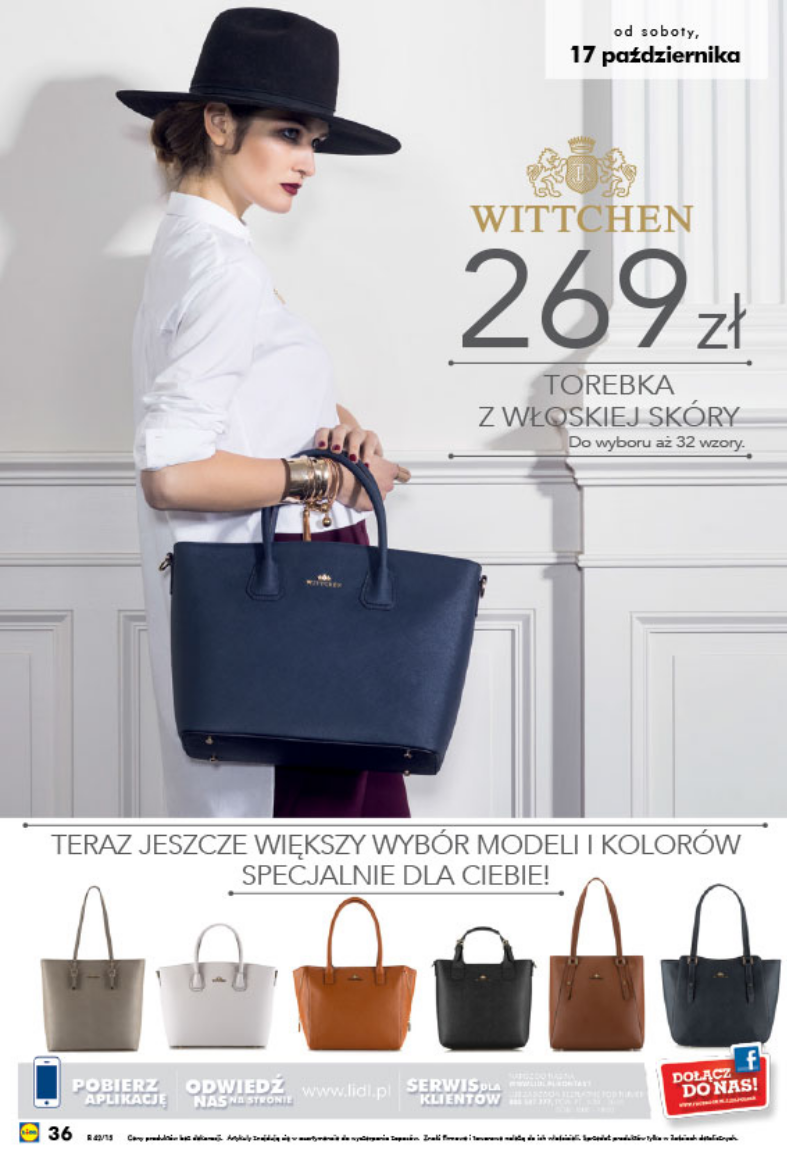 fb1da9dcc64bb Od soboty 17 października 2015 w sklepach Lidl dostępne będą torebki  polskiej marki WITTCHEN w cenie 269zł. Do wyboru 32 wzory.