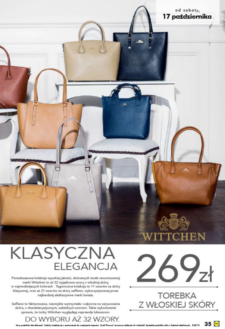 0097c22ec2629 WITTCHEN w Lidlu 2015 torebki Wittchena z włoskiej skóry w cenie 269zł do  wyboru 32 wzory