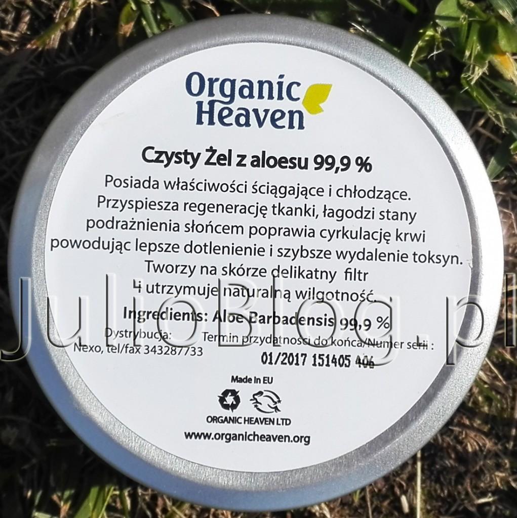 julioblog.pl-blog-julii-Żel-aloesowy-Aloe-Vera-Gel-100-Organic-Heaven-składniki-skład-Aloe-Barbadiensis-Extract-99,9-sposób-użycia-zastosowanie-żelu-aloesowego-150g