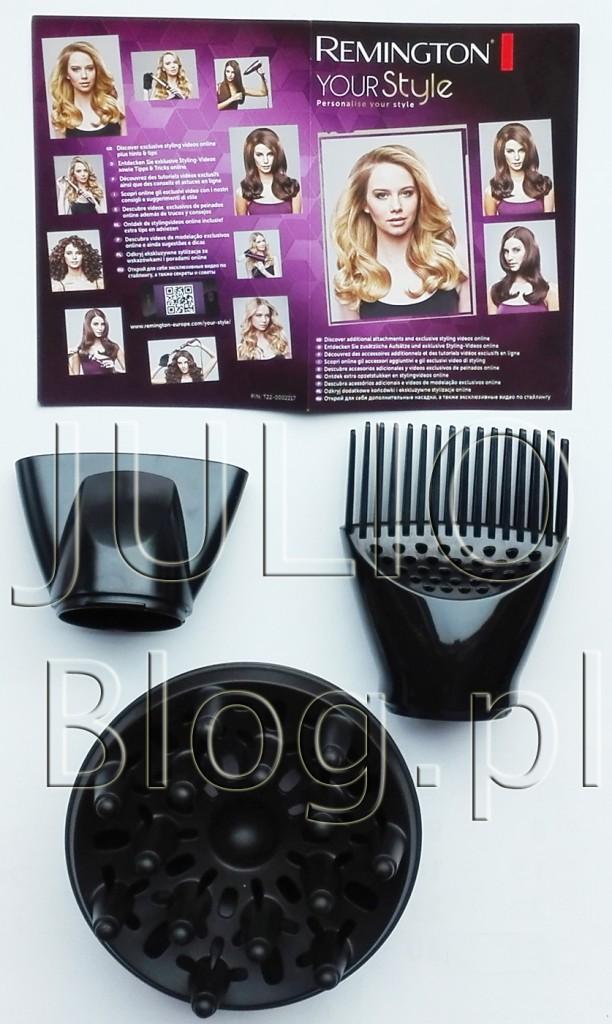 julioblog.pl-wymienne-końcówki-do-suszarki-REMINGTON-Your-Style-D5219.-dyfuzor-koncentrator-root-boost-proste-włosy-fale-loki-luźne-loki-stylizacja-włosów