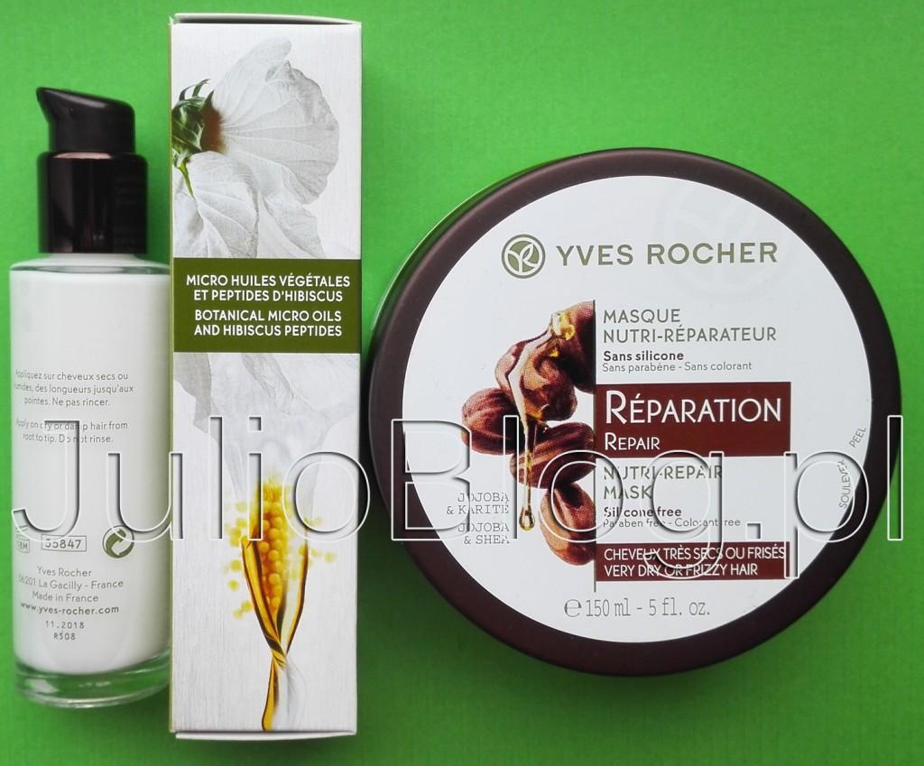 JulioaBlog.pl-blog-Julii-Wzmacniające-serum-do-włosów-Roślinna-pielęgnacja-włosów-Yves-Rocher-30ml-27,90zł-Odbudowująca-maska-masło-karite-shea-jojoba-150ml-29,90zł-JULIOBLOG