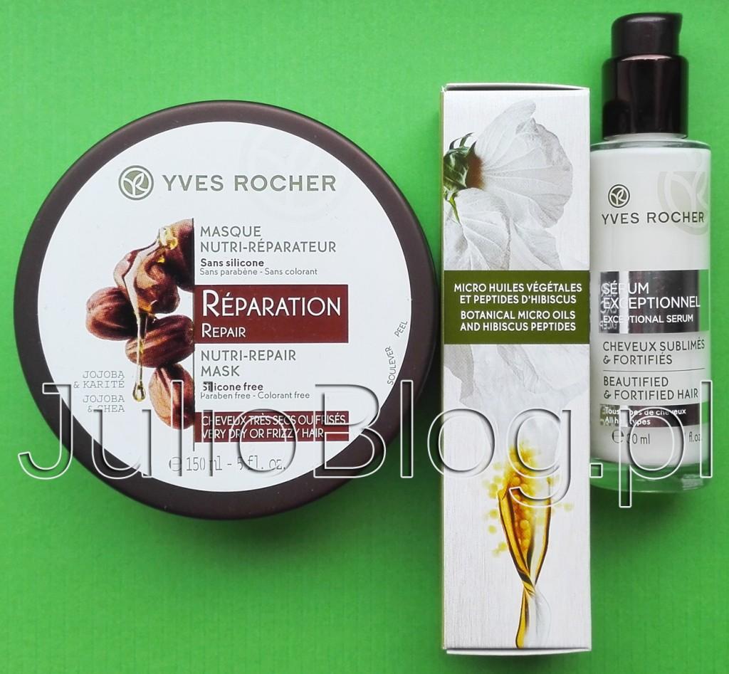 Wzmacniające-serum-do-włosów-Roślinna-pielęgnacja-włosów-Yves-Rocher-30ml-27,90zł-Odbudowująca-maska-masło-karite-shea-jojoba-150ml-29,90zł-julioblog.pl-blog-julii-recenzje-opinie