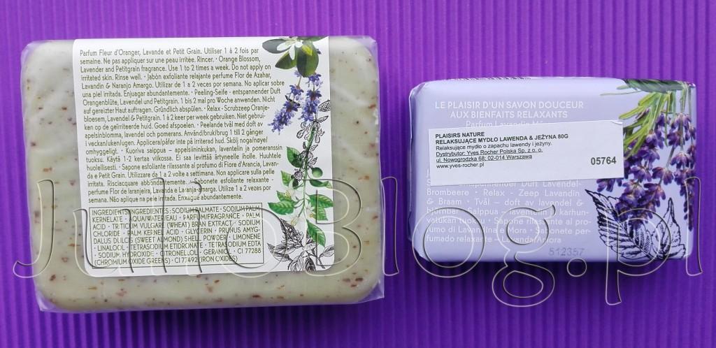 Relaksujące-mydło-peelingujące-Kwiat-Pomarańczy-Lawenda-Petit-Grain-Yves-Rocher-mydło-lawenda-jeżyna-Plaisir-Nature-relaksujące-mysła-opinie-julioblog.pl-blog-Julii-recenzja-informacje
