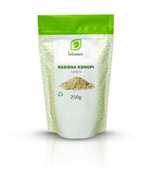 łuskane nasiona konopii Cannabis sativa Intenson 250g kwasy omega 3 witaminy żelazo fosfor cynk miedż mangan potas