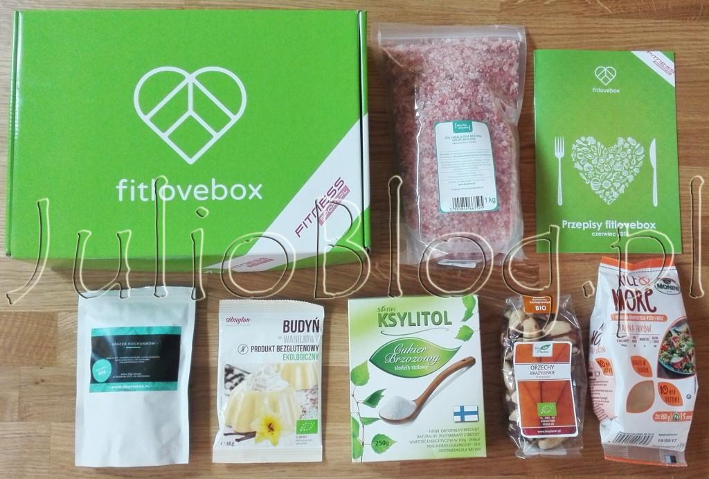 FitLoveBox-Czerwiec-2016-pudełko-subskrypcyjne-JulioBlog.pl-blog-Julii-zawartość-czy-się-opłaca-sól-himalajska-ksylitol-ziarna-inków-monini-orzechy-brazylijskie-herbata-budyń-bezglutenowy