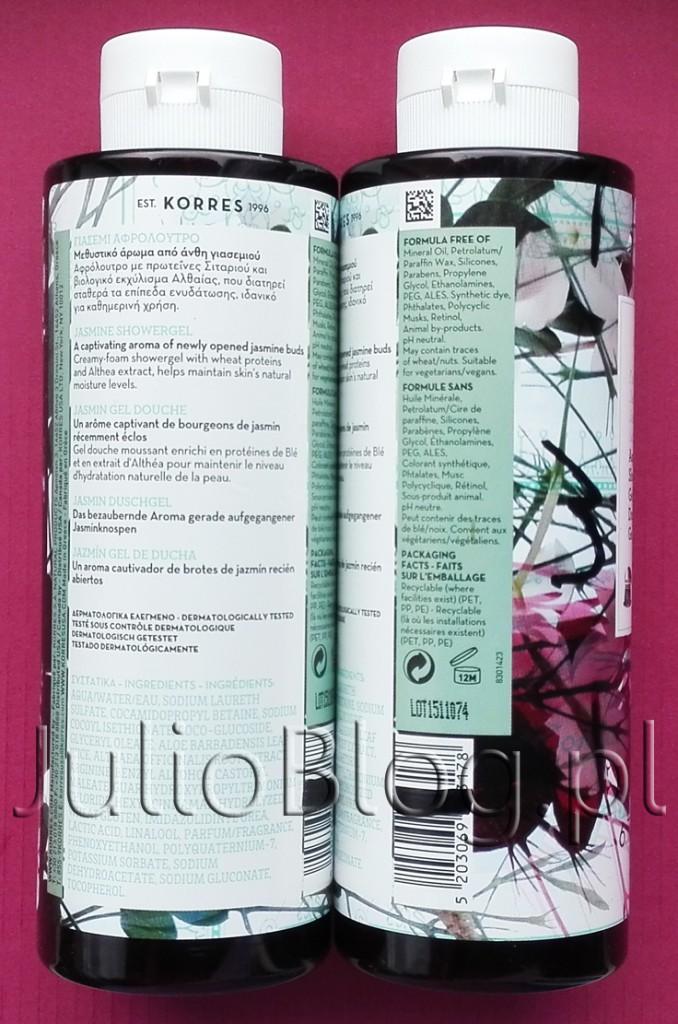 Korres-Jasmine-Shower-Gel.-Żel-pod-prysznic-o-zapachu-Jaśminu-KORRES-250ml--55zł-bez-parabenów-silikonów-PEG-skład-składniki-skład-INCI-lista-składników-etykietka-informacje-JulioBlog