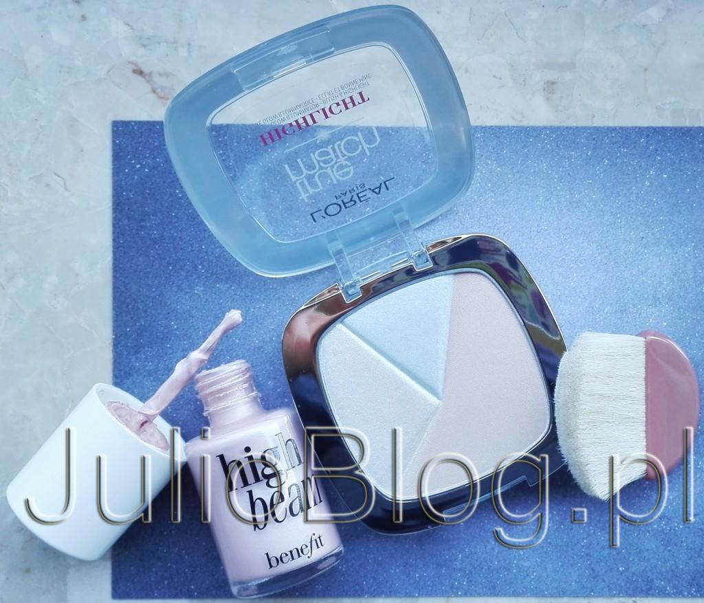 High-Beam-BENEFIT-HighBeam-rozświetlacz-do-twarzy-Loreal-True-Match-Highlight-302-Icy-Glow-puder-rozświetlający-w-kamieniu-strobing-konturowanie-rozświetlanie-skóry-JulioBlog.pl-blog-Julii