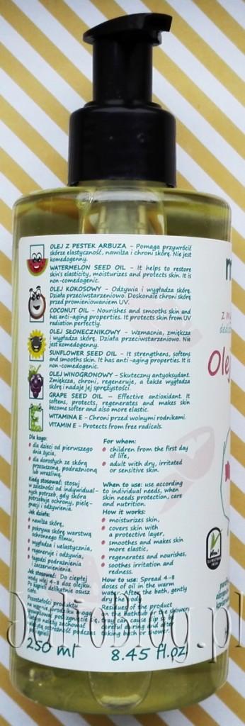 Olejek-do-kąpieli-MIKKOLO-Nova-Kosmetyki--250ml-49zł-skład-składniki-INCI-olej-z-pestek-arbuza-kokosowy-winogronowy-słonecznikowy-naturalne-kosmetyki-polskie-JulioBlog.pl-blog-Julii