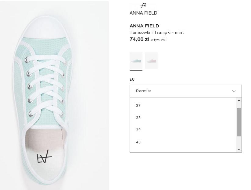 zakupy-na-ZALANDO-JulioBlog.pl-blog-Julii-trampki-tenisówki-ANNA-FIELD-wybór-rozmiaru-rozmiarówka-butów-rozmiar-EU-informacje-na-temat-rozmiaru-obuwia-na-stronie-zlando-ZALANDOSTYLE