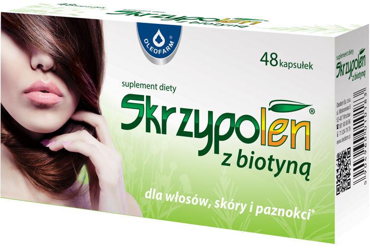 Skrzypolen-z-biotyną-48-kapsułek-tabletek-14zł-Oleofarm-suplement-diety-na-wzmocnienie-włosów-paznokci-i-skóry-ekstrakt-ze-skrzypu-polnego-mielone-nasiona-lnu-biotyna-cynk-tauryna