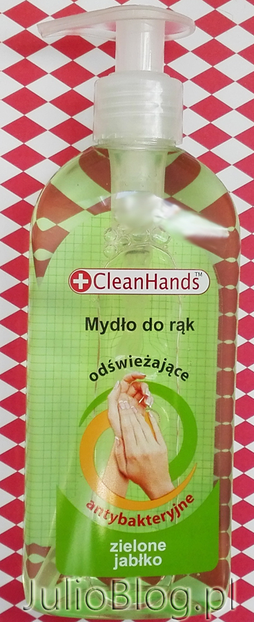 Antybakteryjne-mydło-w-płynie-do-rąk-zielone-jabłko,-odświeżające-CleanHands-skład-INCI-SLS-opinia-recenzja-blog-JulioBlog.pl-mydło-w-płynie-Rossman-cena-6.50zł-250ml-polskie