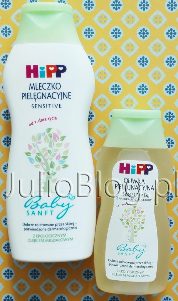 Mleczko-pielęgnacyjne-SENSITIVE-od-1.-dnia-życia-z-ekologicznym-olejkiem-migdałowym-HIPP-Baby-SANFT-pielęgnacja-wrażliwej-skóry-skóra-DELIKATNA-ATOPOWA-AZS-JulioBlog.pl-blog
